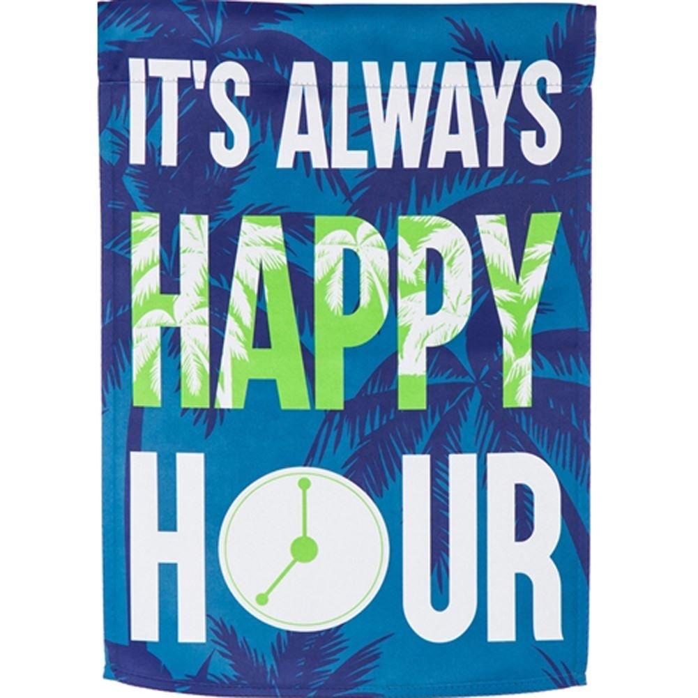 It's Always Happy Hour Suede Garden Flag - Monogram Gifts