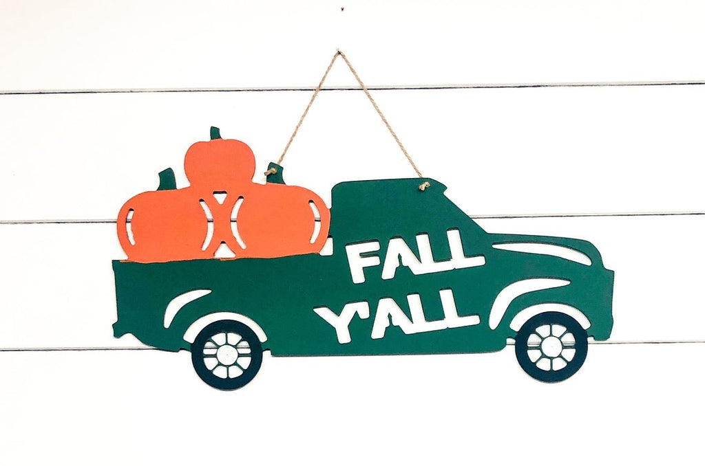 Fall Y'all Truck, Wood Door Hanger