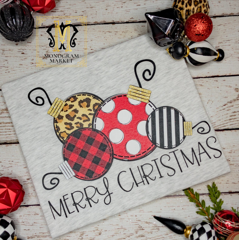 Merry Christmas Ornaments, printed tee - Monogram Market