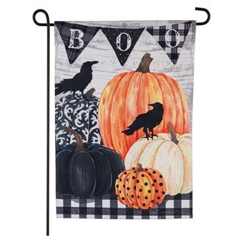 Pumpkins and Crows Garden Linen Blackout Flag