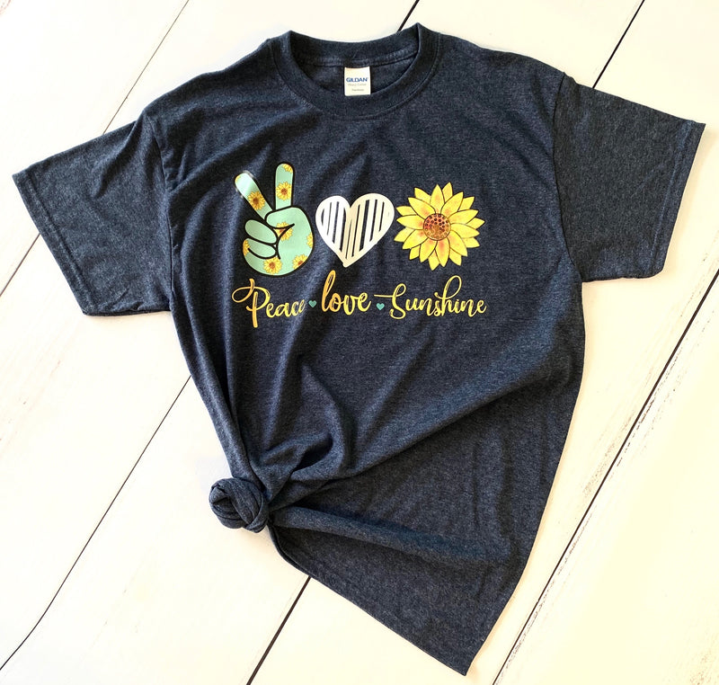 Peace-Love-Sunshine, Printed Tee - Monogram Gifts