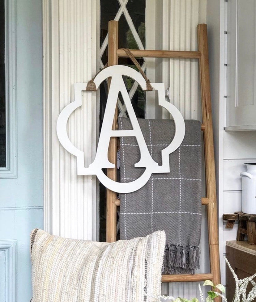 Quatrefoil Initial, Wood Door Hanger *PICKUP ONLY* - Monogram Gifts