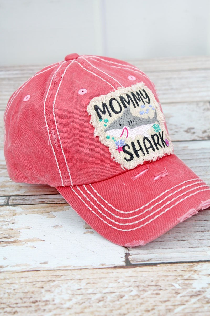 Mommy Shark Distressed Baseball Hat - Monogram Gifts