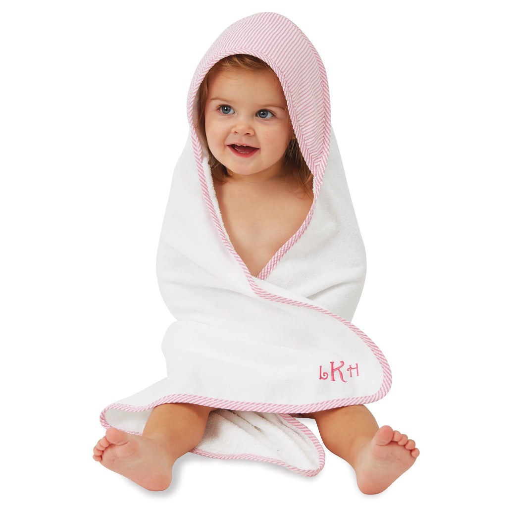 Mud Pie Pink Seersucker Hooded Towel - Monogram Gifts