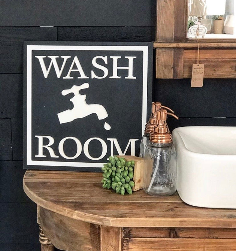 Wash Room Sign - Monogram Gifts