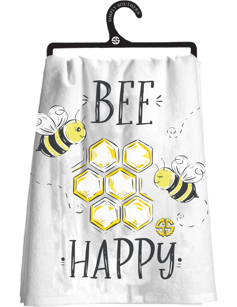Simply Southern Dish Towel - Bee Happy - Monogram Gifts