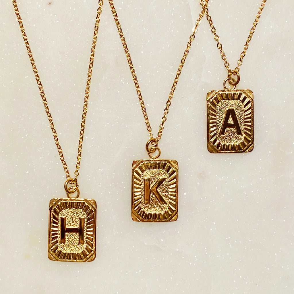 Art Deco Initial Necklace - Monogram Market