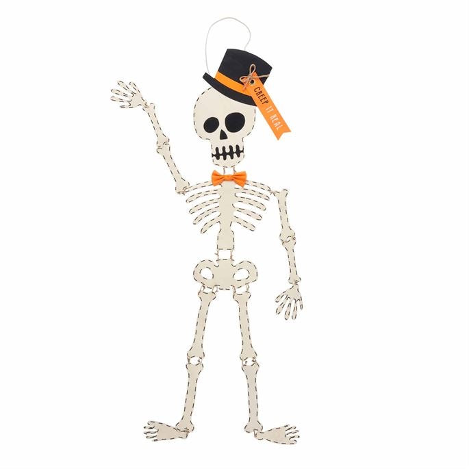 Mud Pie Skeleton Top Hat Door Hanger - Monogram Gifts