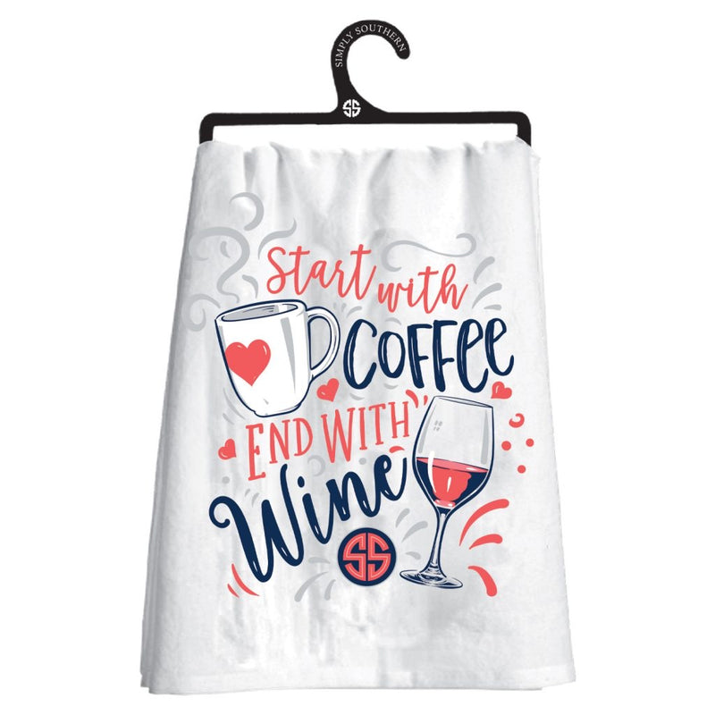 Simply Southern Dish Towel - Start With Coffee, End With Wine - Monogram Market