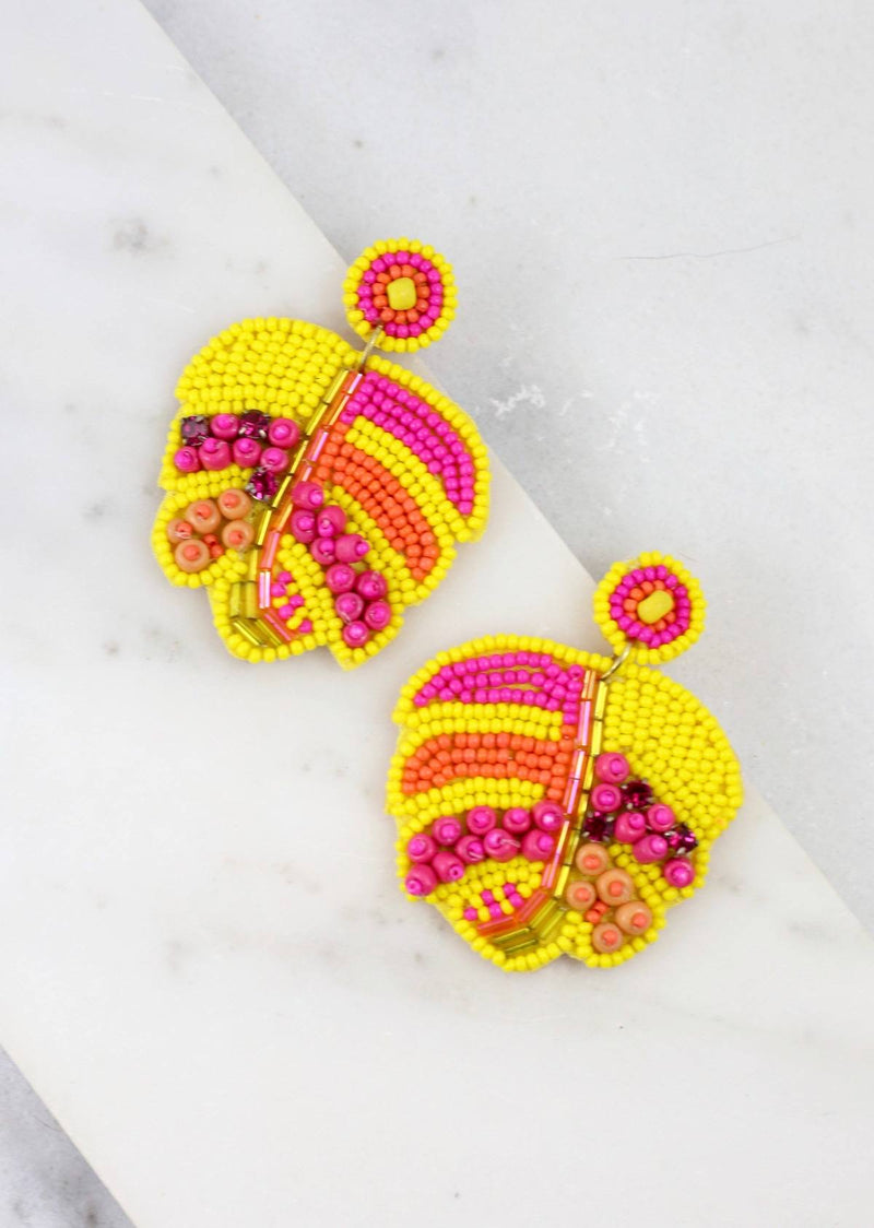 Palm Leaves Seed Bead Embellished Post Earrings, Yellow - Monogram Market