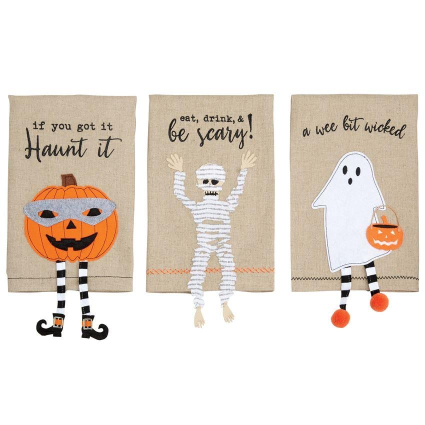 Mud Pie Halloween Dangle Leg Linen Towels
