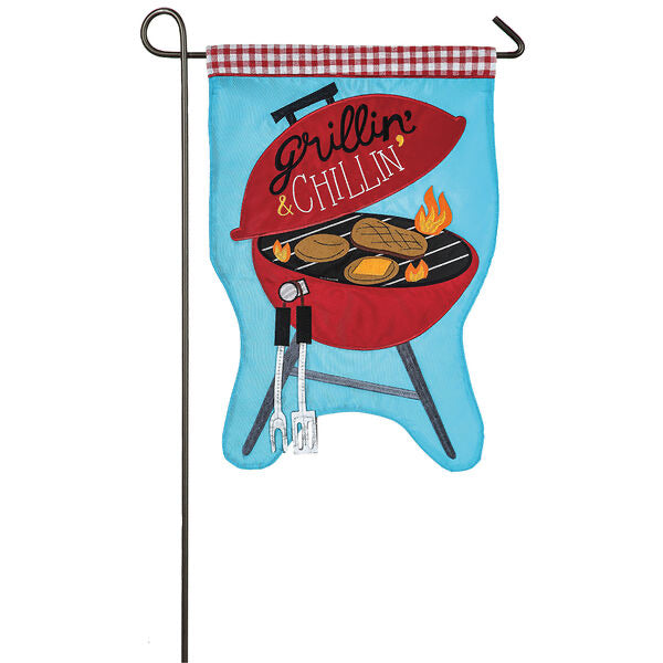 Grillin' and Chillin' Appliqué Garden Flag - Monogram Gifts
