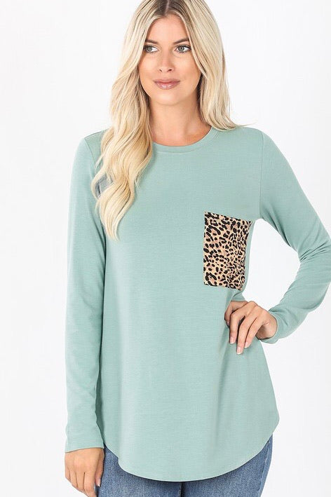 Light Green Round Neck Leopard Print Pocket Top - Monogram Gifts