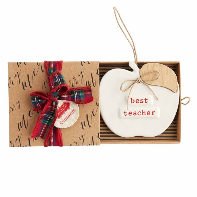 Mud Pie Teacher Apple Ornament