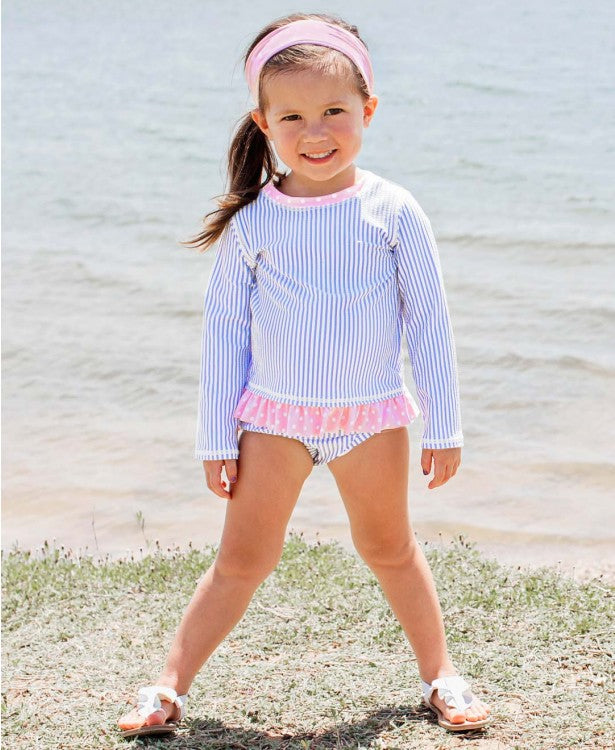 Ruffle Butts Periwinkle Blue Seersucker Long Sleeve Rash Guard Bikini - Monogram Gifts