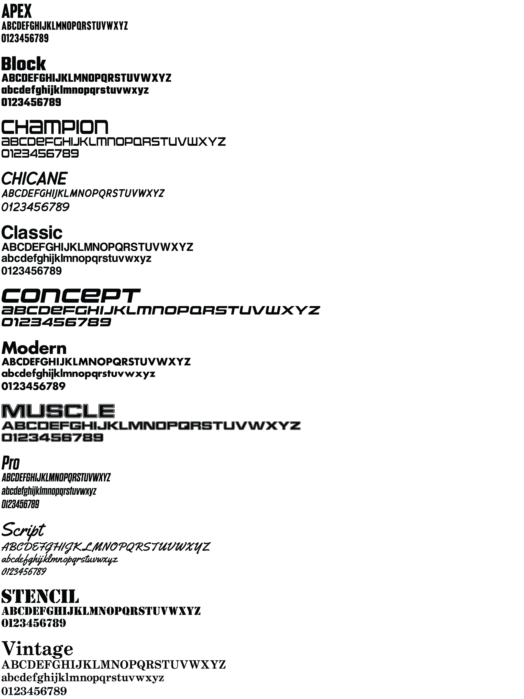 TrackDecals Font List