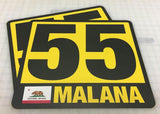 Vinyl Number Plate w/ Border and Name