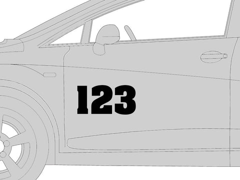 Height: 6 inches square font Black outline race number 1 Vinyl sticker//decal White