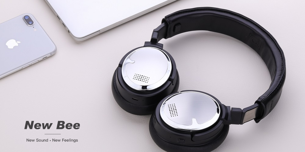 Wireless Active Noise Cancelling Headphones Bluetooth Over Ear Headphones New Bee Headphones with HiFi