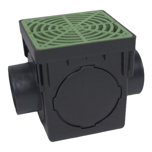 Dura - 090-K - 9'' Double Outlet Catch Basin w/ Green Grate