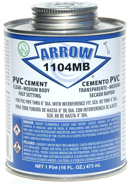 Arrow - 1104MB-P - Medium Bodied PVC Cement (Pint)