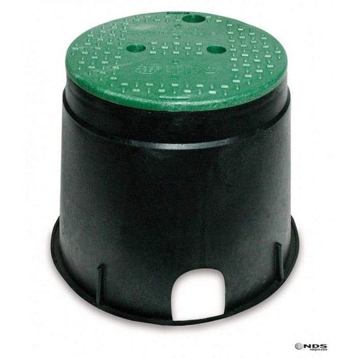"NDS - 111BC - STD 10"" Rnd Box and Overlapping Lid, Green Lid/Black Body"