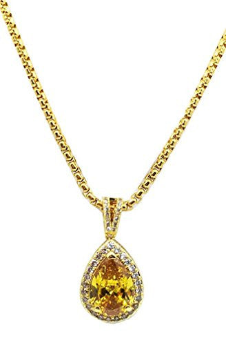 Tear Shaped Canary Yellow CZ Stone Piece Mini Charm Pendant Micro Box Chain Necklace