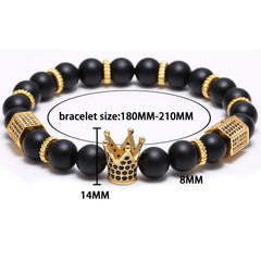 Micro Pave Black CZ Gold King Crown Charm Bracelet