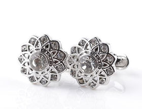 Diamond Flower Design Cufflinks