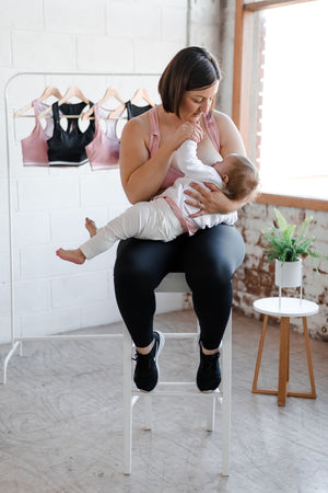 NEW breastfeeding friendly sports bra in blush