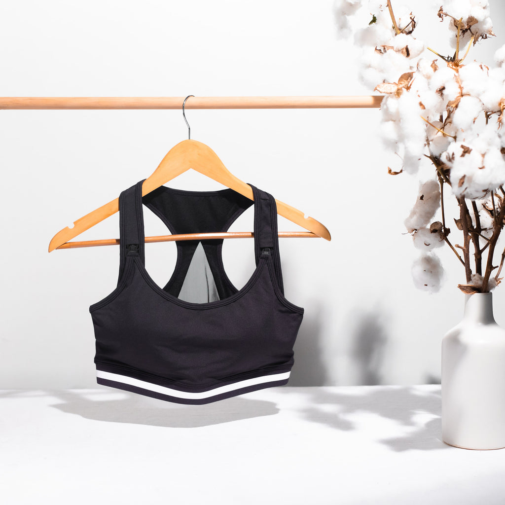 Breastfeeding friendly sports bra in black