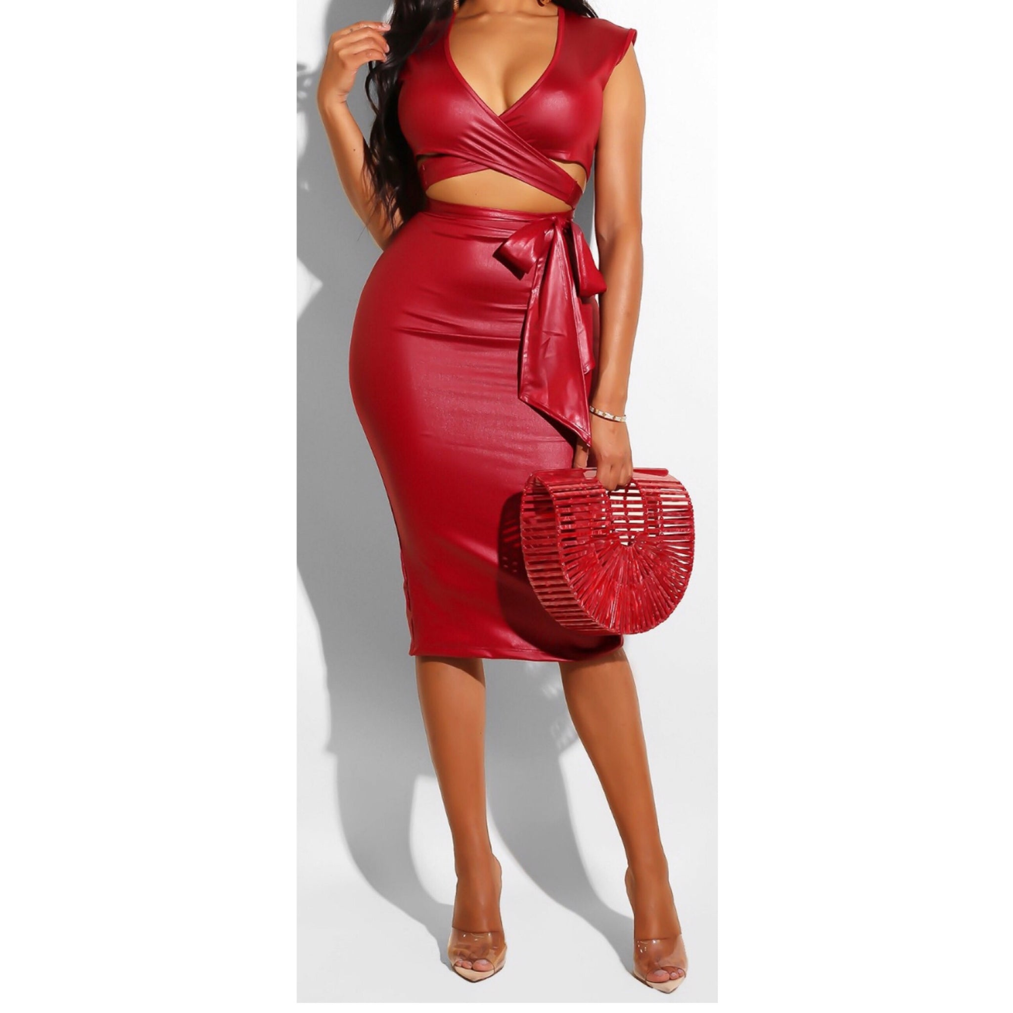 53fb27add8b red pleather wrap set – Shique By Shaw