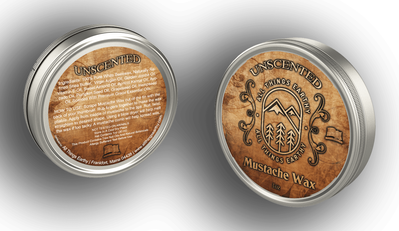 Unscented Mustache Wax 1oz - All Things Earthy