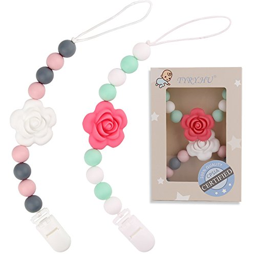 Rose Teething Pacifier Clips (White & Red) - TYRY.HU