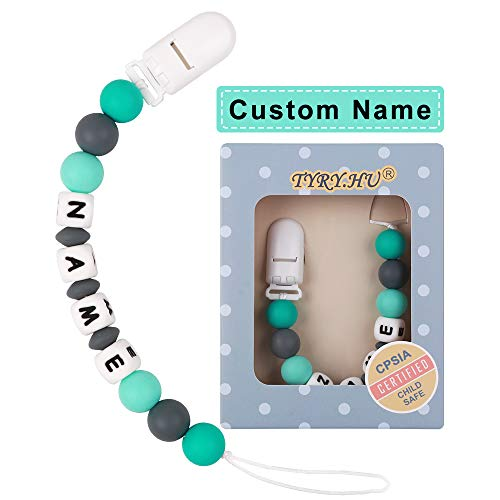 TYRY.HU Personalized Pacifier Clips Silicone Teether Toys Holder Chain for Baby (green) - TYRY.HU