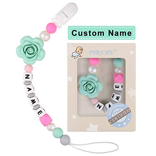 TYRY.HU Baby Name Personalized Rose Pacifier Clip Dummy Holder (Green Rose)