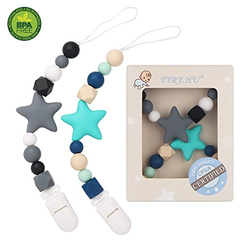 Star Pacifier Clips Set Of 2 (Turquoise, Grey) - TYRY.HU