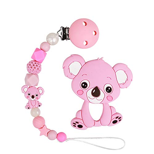 Pink Koala Pacifier Chain Holder With Teether Set - TYRY.HU