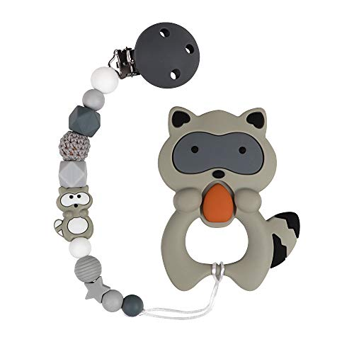 Silicone Pacifier Chain Holder With Raccoon Teether Toy - TYRY.HU