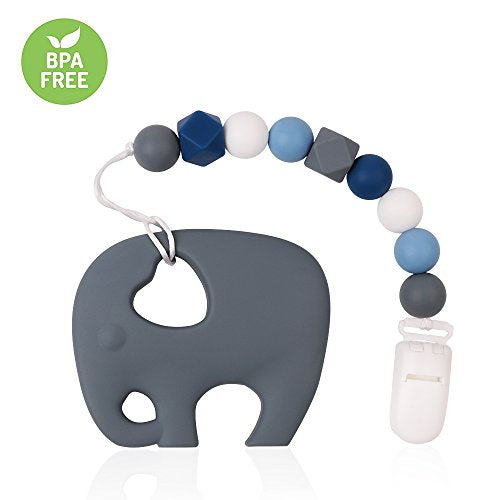 Blue Girls Pacifier Clip TYRY.HU Teething Toys BPA Free Silicone Elephant Teether with Binkie Holder for Boys Baby Shower Gift