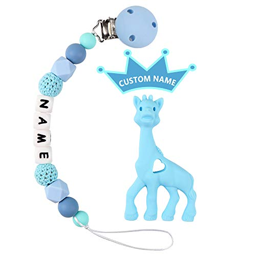 Baby Name Personalized Pacifier Clip With Giraffe Teether - TYRY.HU