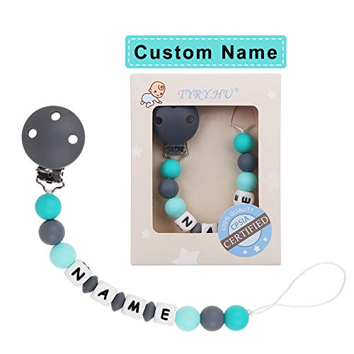 TYRY.HU Personalized Baby Silicone Teethers Pacifier Clips Teething Toys (Grey) - TYRY.HU