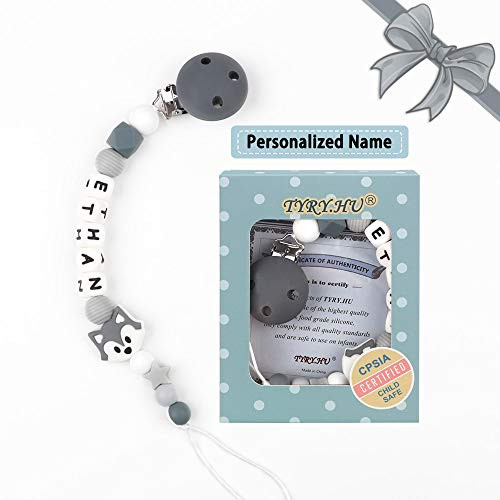 Name Personalised Grey Fox  Mam Pacifier Clip - TYRY.HU