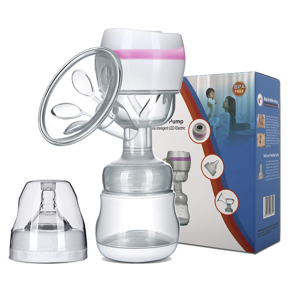 Electric Breast Pump Portable Battery Baby Milk Extractor (Pink)