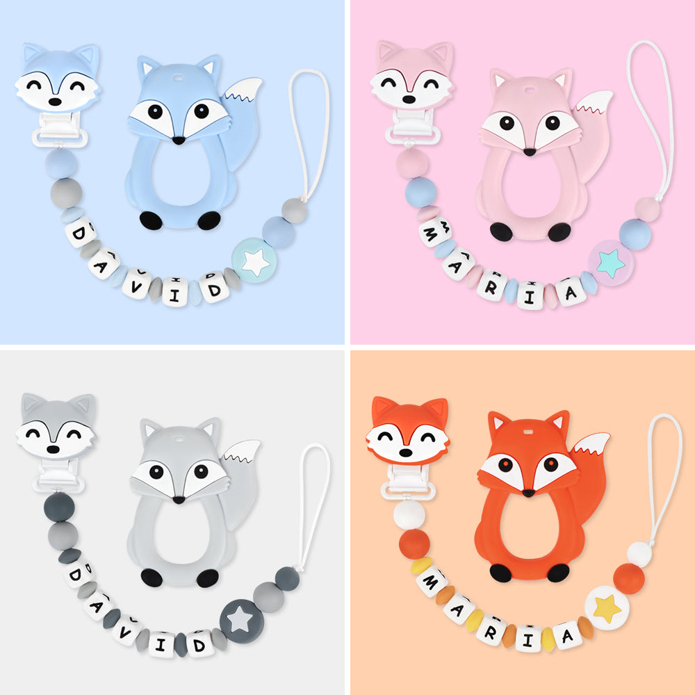 Name Personalized Dummy Clip With Fox Teether Set