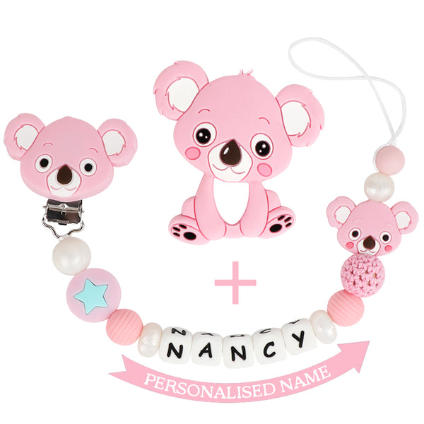 Tyry Best Selling: Name personalised clip pacfier with Koala teether