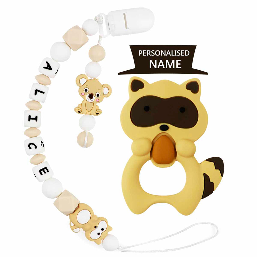 Raccoon Baby Name Personalized Pacifier Clip - TYRY.HU