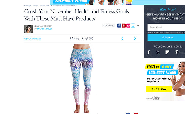 "Pop Sugar ""Crush Your November Health and Fitness Goals With These  Must-Have Products"""