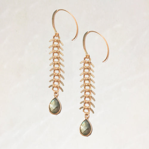 CHLOE - GRAY LAB DROP - ARTICULATED CHAIN EARRINGS