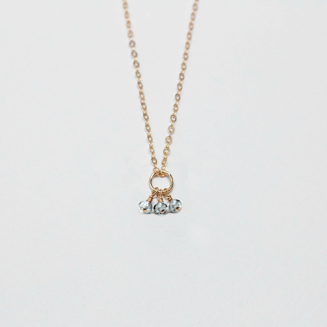 april birthstone - rock crystal - charm necklace